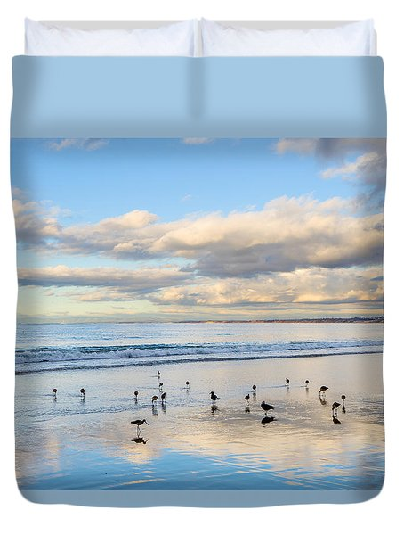 Birds On The Beach Duvet Cover by Derek Dean