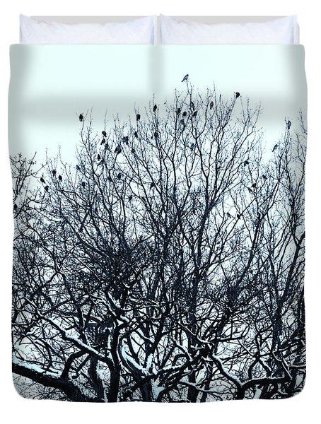 Birds On The Tree Monochrome Duvet Cover