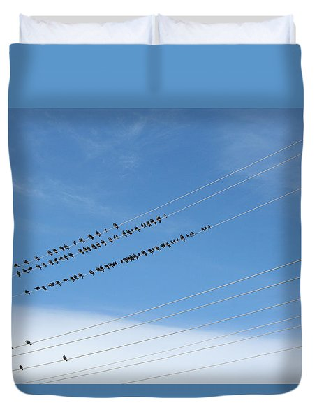 Birds On Wires Duvet Cover