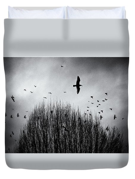 Birds Over Bush Duvet Cover