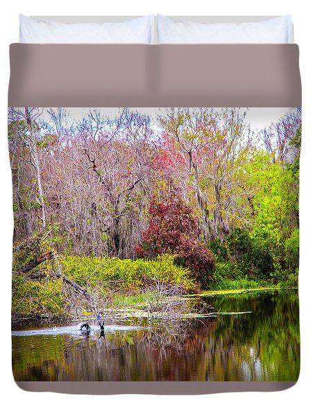 Duvet Cover featuring the photograph Birds Playing In The Pond 3 by Madeline Ellis