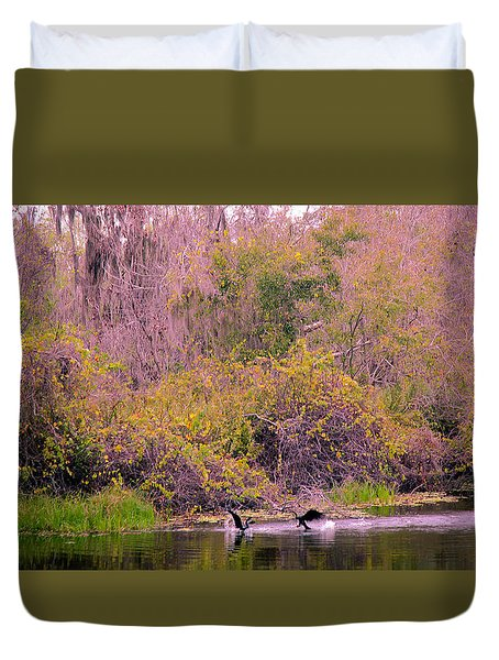 Duvet Cover featuring the photograph Birds Playing In The Pond 2 by Madeline Ellis