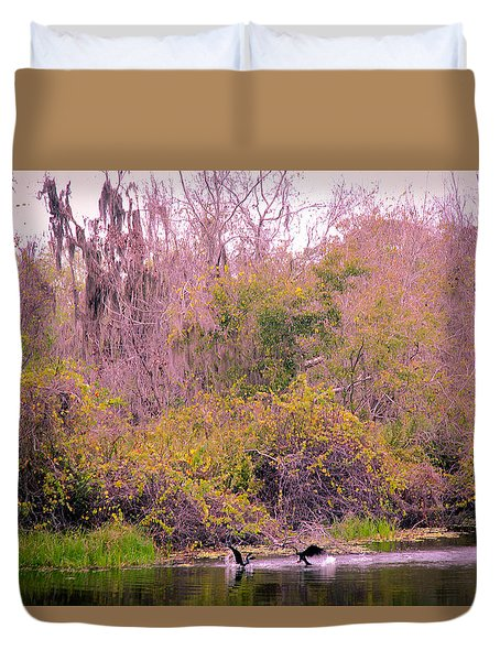 Duvet Cover featuring the photograph Birds Playing In The Pond 1 by Madeline Ellis