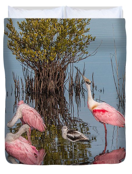 Birds, Reflections, And Mangrove Bush Duvet Cover