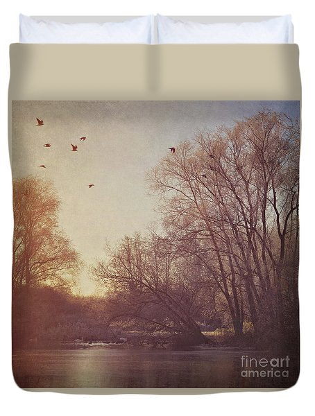 Duvet Cover featuring the photograph Birds Take Flight Over Lake On A Winters Morning by Lyn Randle