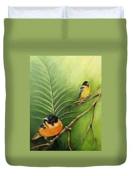On The Lookout, Birds  Duvet Cover