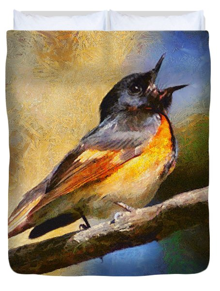 Duvet Cover featuring the painting Birdsong by Elizabeth Coats