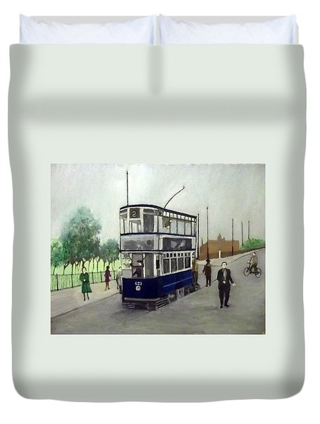 Birmingham Tram With Figures Duvet Cover