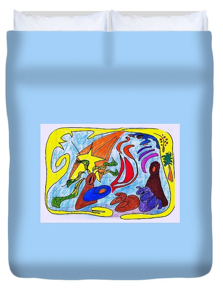 Birth Narrative Duvet Cover by Martin Cline