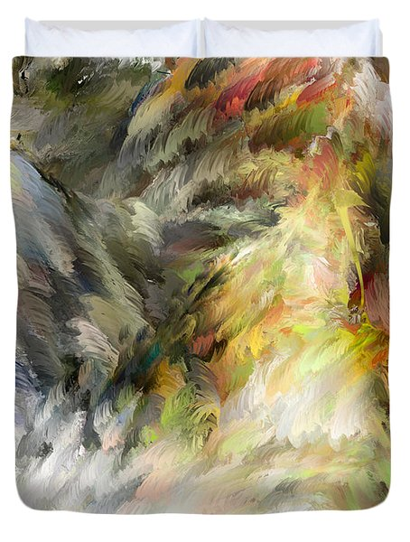 Duvet Cover featuring the digital art Birth Of Feathers by Dale Stillman