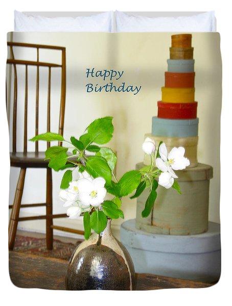 Birthday Apple Blossoms Duvet Cover by Deborah Dendler