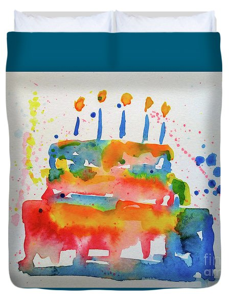 Duvet Cover featuring the painting Birthday Blue Cake by Claire Bull