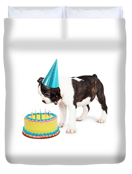 Birthday Dog Blowing Out Candles Duvet Cover