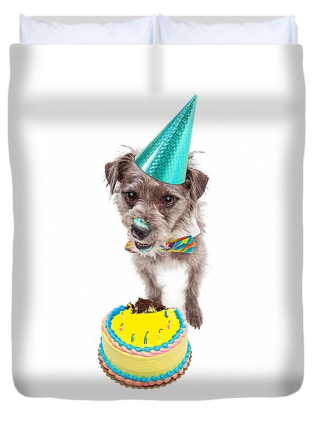 Birthday Dog Eating Cake Duvet Cover