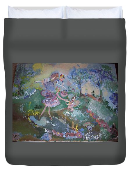Duvet Cover featuring the painting Birthday Fairy by Judith Desrosiers