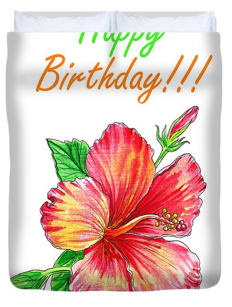 Birthday Hibiscus Duvet Cover
