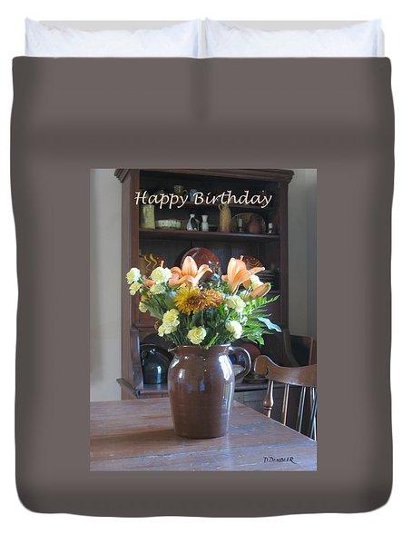Birthday Jug Of Flowers Duvet Cover by Deborah Dendler