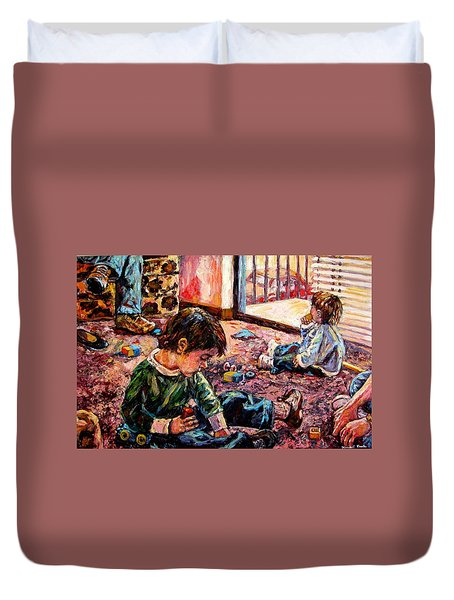 Duvet Cover featuring the painting Birthday Party Or A Childs View by Kendall Kessler