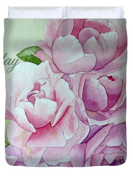 Birthday Peonies Duvet Cover