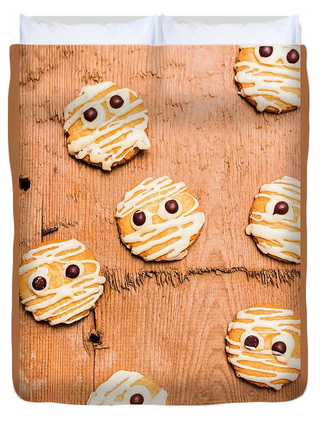 Biscuit Gathering Of Monster Mummies Duvet Cover