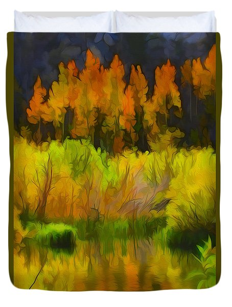 Bishop Creek Aspens Duvet Cover