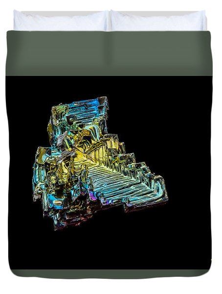 Duvet Cover featuring the photograph Bismuth Crystal by Rikk Flohr