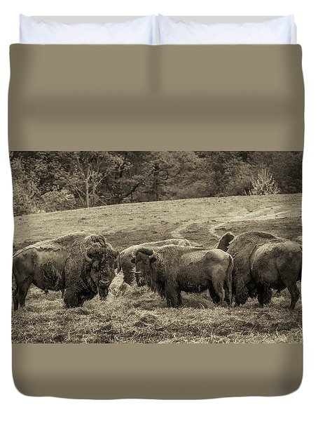 Duvet Cover featuring the photograph Bison 1 - Pano by Joye Ardyn Durham