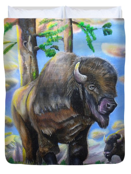 Bison Acrylic Painting Duvet Cover