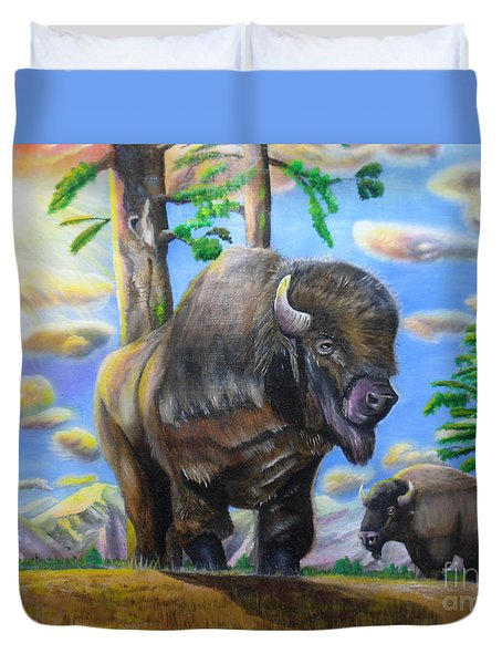 Duvet Cover featuring the painting Bison Acrylic Painting by Thomas J Herring