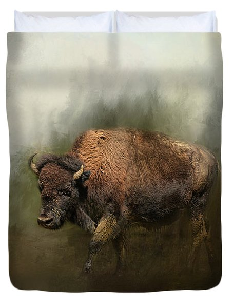 Bison After The Mud Bath Duvet Cover