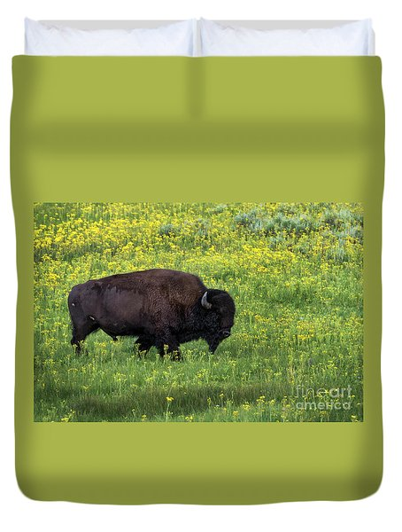 Bison Among The Wildflowers Duvet Cover