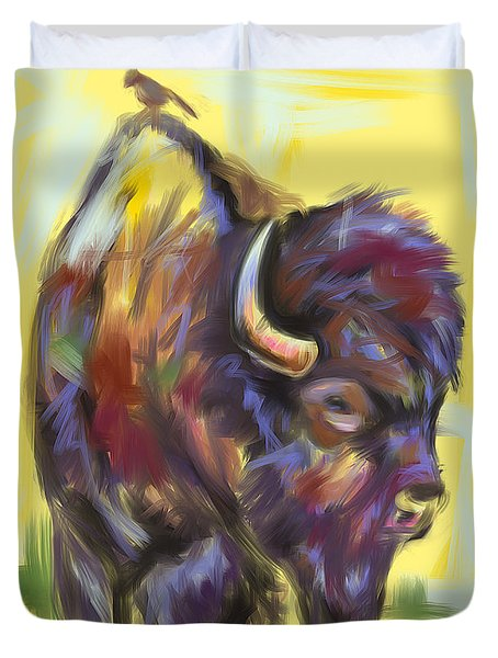 Duvet Cover featuring the painting Bison And Bird by Go Van Kampen