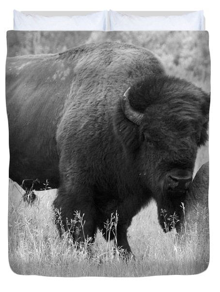 Duvet Cover featuring the photograph Bison And Buffalo by Mary Mikawoz