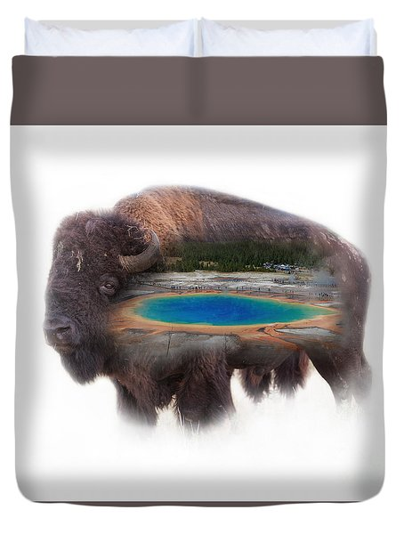 Bison And Great Prismatic Spring Double Exposure Duvet Cover