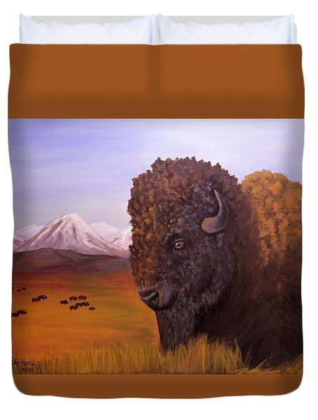 Bison And Plains Duvet Cover