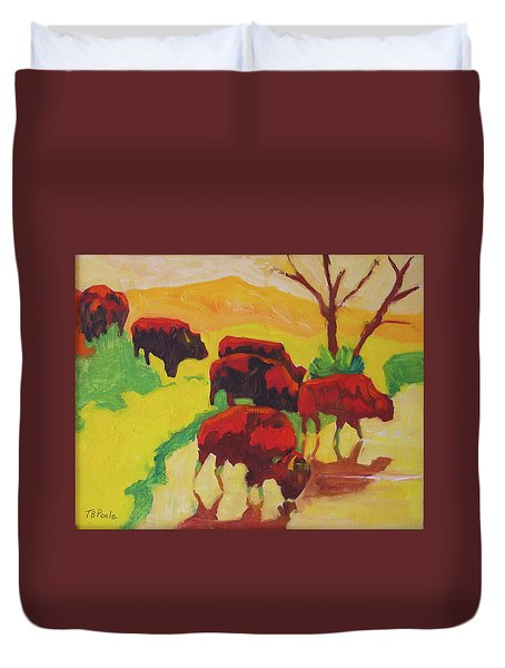 Bison Art Bison Crossing Stream Yellow Hill Painting Bertram Poole Duvet Cover
