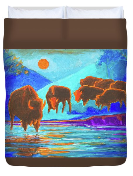 Bison Art - Seven Bison At Sunrise Yosemite Painting T Bertram Poole Duvet Cover