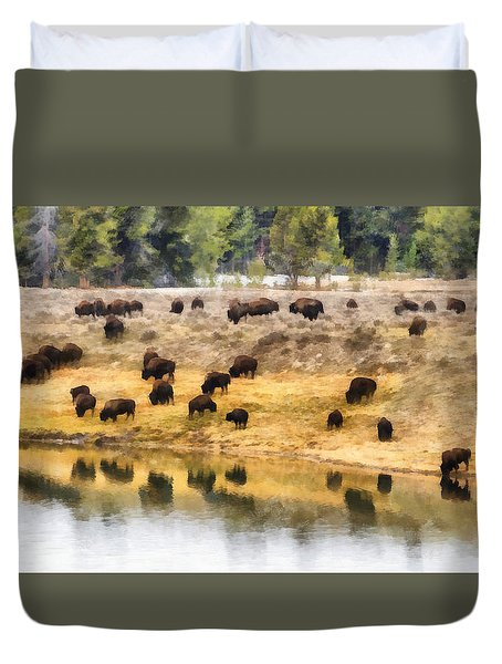 Bison At Indian Pond Duvet Cover