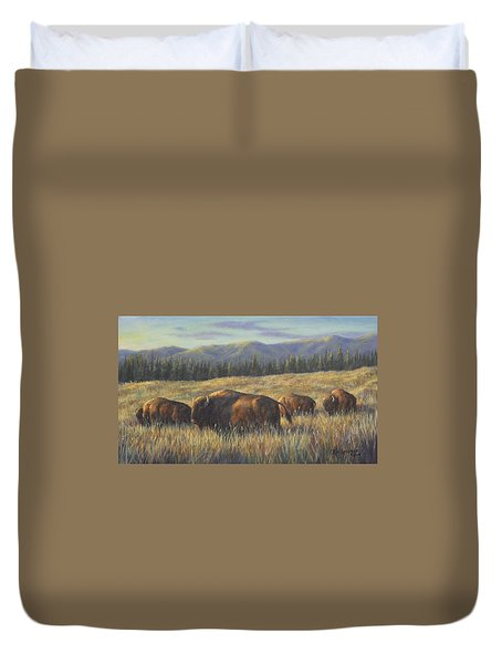 Duvet Cover featuring the painting Bison Bliss by Kim Lockman