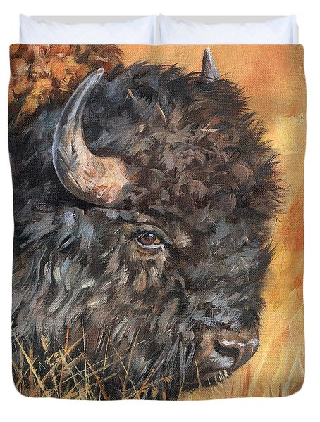 Duvet Cover featuring the painting Bison by David Stribbling