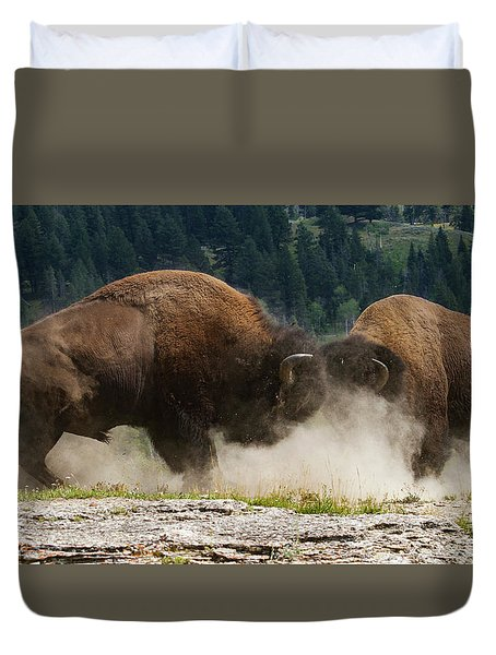 Bison Duel Duvet Cover