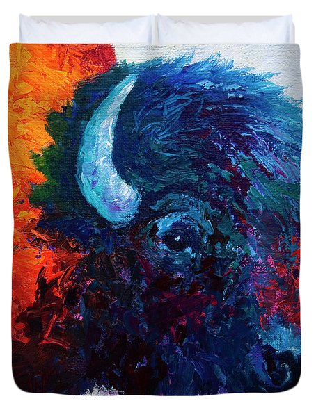 Bison Head Color Study I Duvet Cover