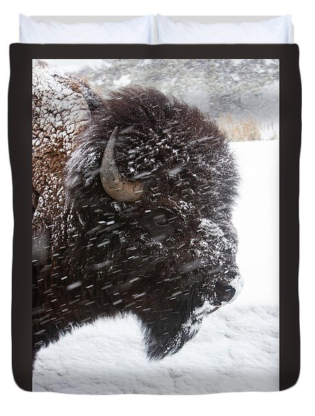Bison In Snow Duvet Cover