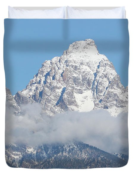 Bison In The Tetons Duvet Cover