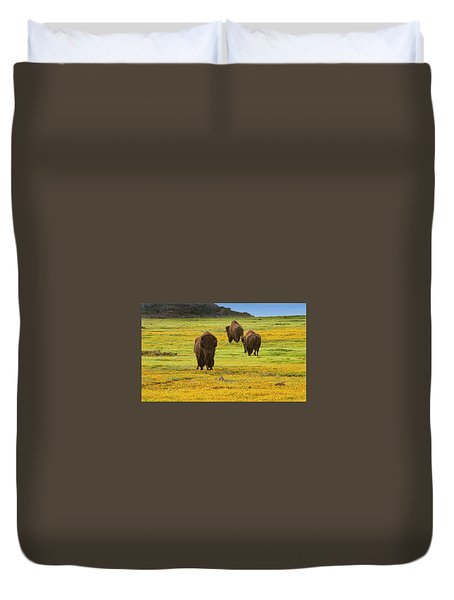 Bison In Wildflowers Duvet Cover