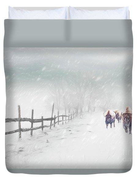Bison In Winter Duvet Cover