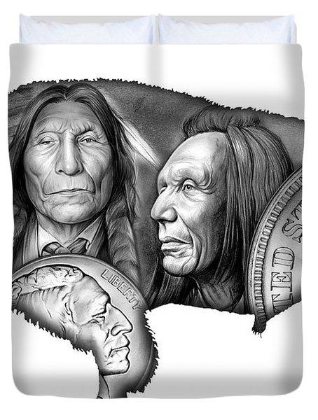 Bison Indian Montage 2 Duvet Cover