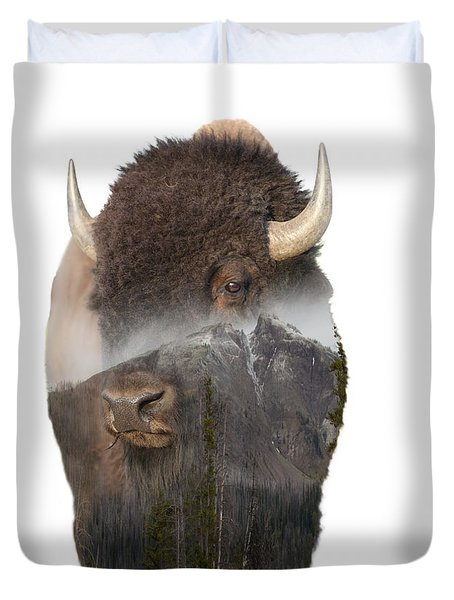 Bison Mountain  Duvet Cover