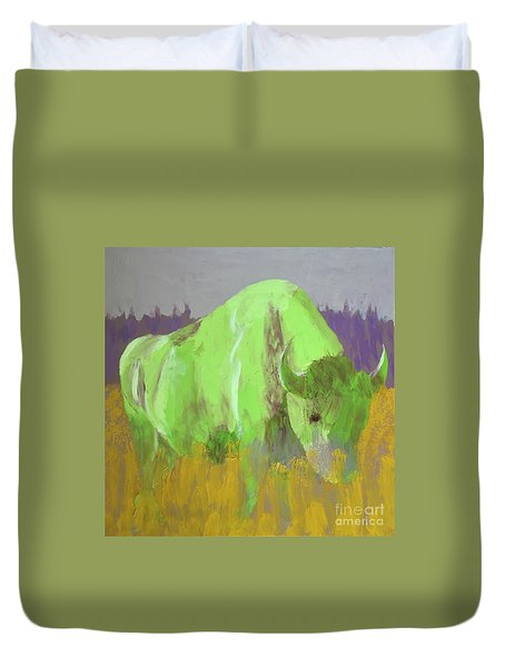 Bison On The American Plains Duvet Cover