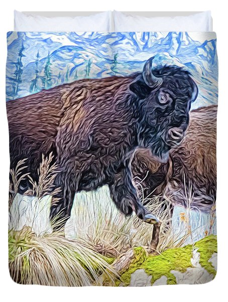 Duvet Cover featuring the digital art Bison Pair by Ray Shiu